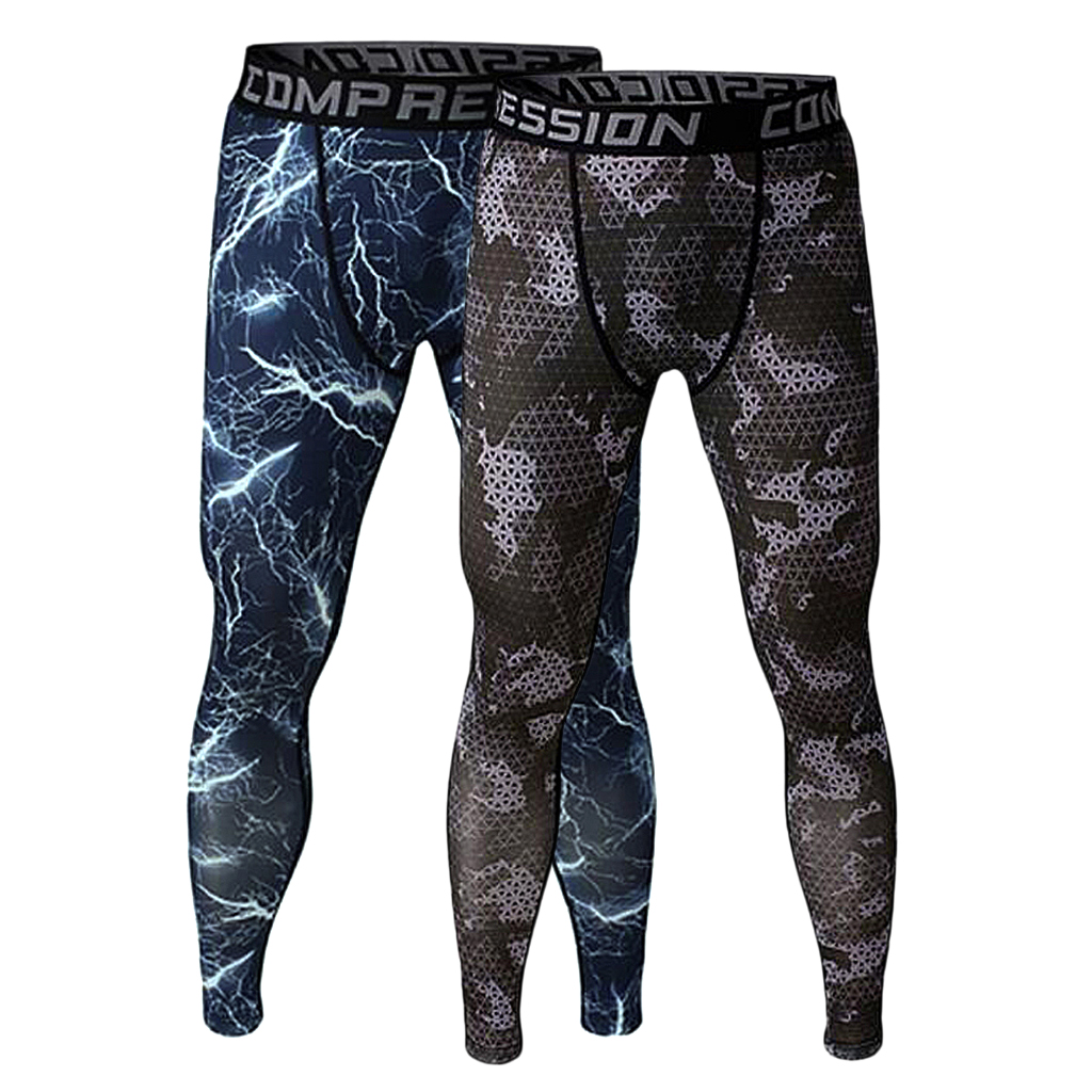 2x Men Exercise Legging Running Tight Trousers Workout Sport Pants M