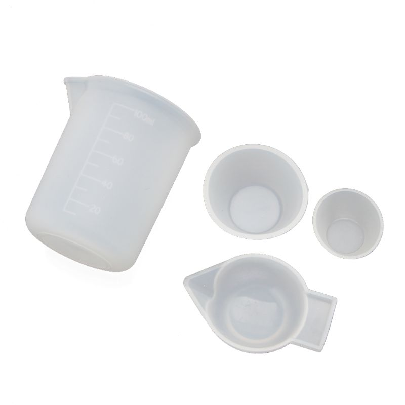4Pcs Silicone Mixing Cups Measuring Cups 100ml 10ml DIY Resin Jewelry Tools Kit