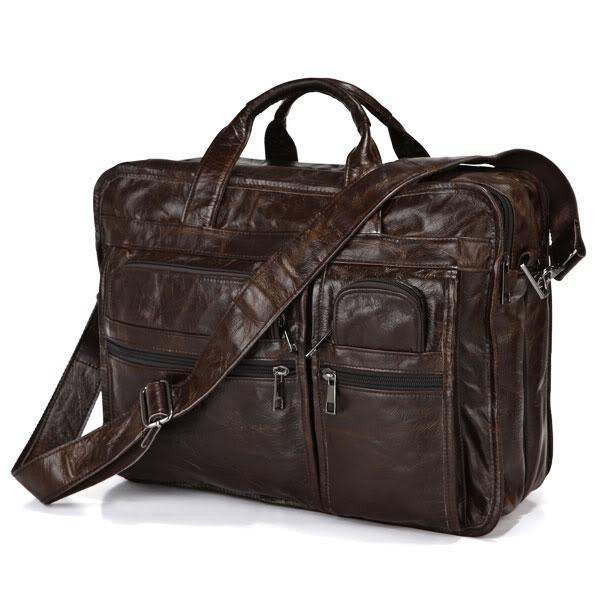 Vintage genuine leather bags Men Briefcase natural cowskin portfolio men s messenger bag male bag 14