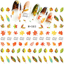 1 Sheet Leaf Nail Stickers Maple 3d Art Water Decals Plant Nailart Coconut Tree Autumn Spring Style Sexy Lips Wreath Decor