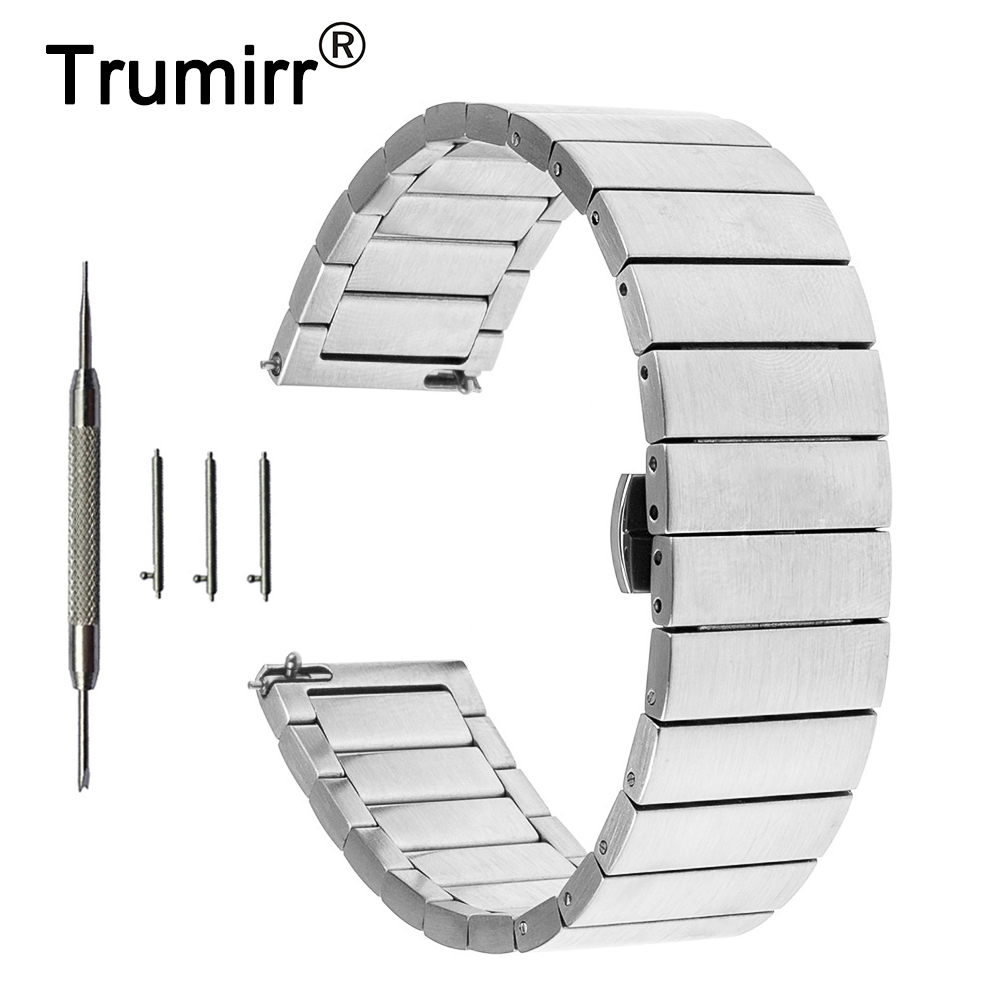 16mm 18mm 20mm Stainless Steel Watch Band for Fossil Quick Release Strap Butterfly Buckle Belt Bracelet Black Rose Gold Silver stainless steel watch band 18mm 20mm 22mm for fossil curved end strap butterfly buckle belt wrist bracelet black gold silver