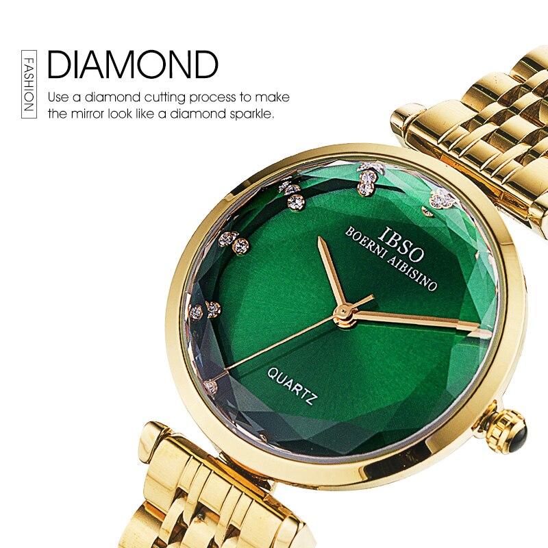 Top Luxury Brand New Fashion Women Diamond Glass Watch Female Diamond Cutting Wristwatch Leather Quartz Clock Relogio Feminino