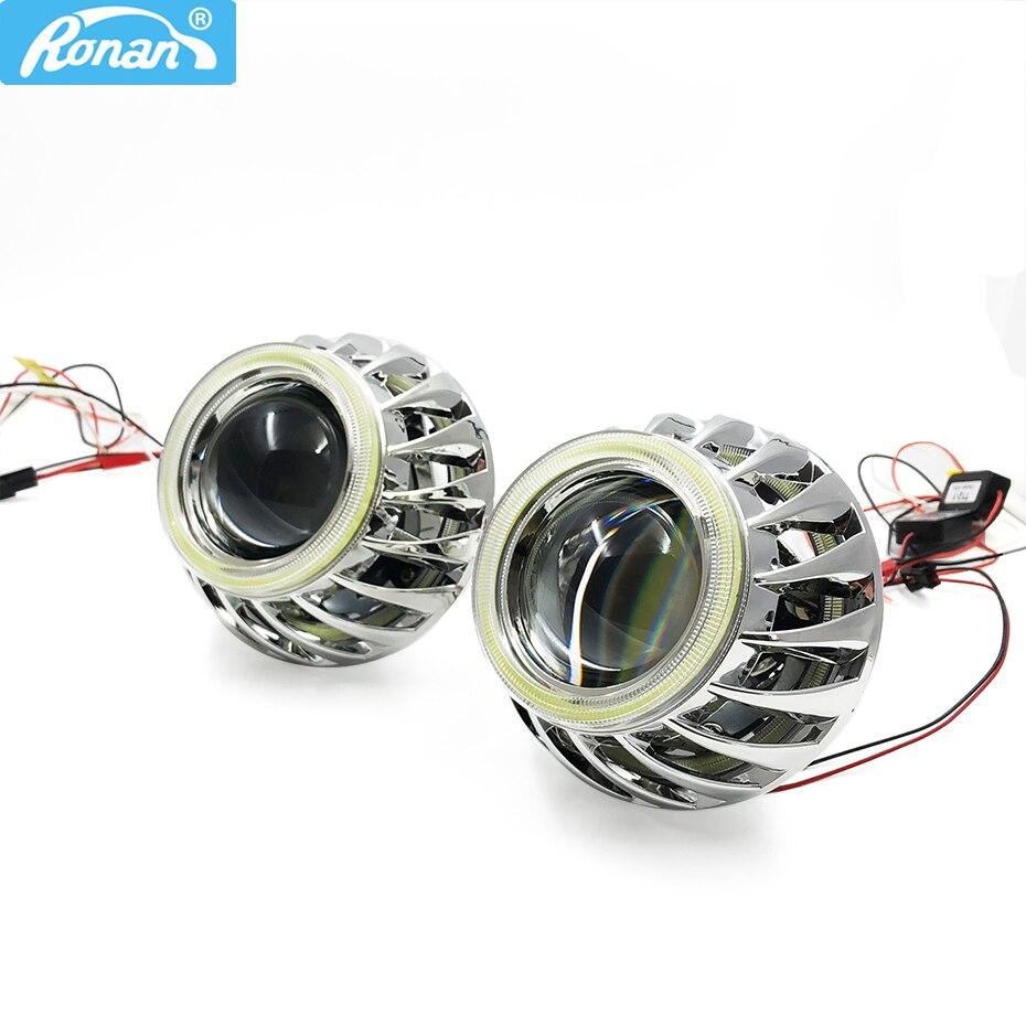 RONAN 2.5 ''mini H1 ver 8.1Bi xénon projecteur lentille Double DRL COB angel yeux spirales masques pour H4 H7 phares voiture style