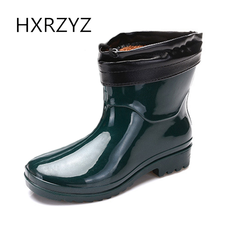 HXRZYZ women ankle rain boots large size plus cotton boots female spring/autumn fashion slip-resistant waterproof women shoes hxrzyz women rain boots spring autumn female ankle boots ladies fashion high top blue and red non slip waterproof women shoes