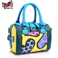 ROMERO BRITTO 2016 Hot Sale New Fashion Digital Print Handbags Graffiti Casual Lady Shoulder Bag PU Bag for Women Free Shipping
