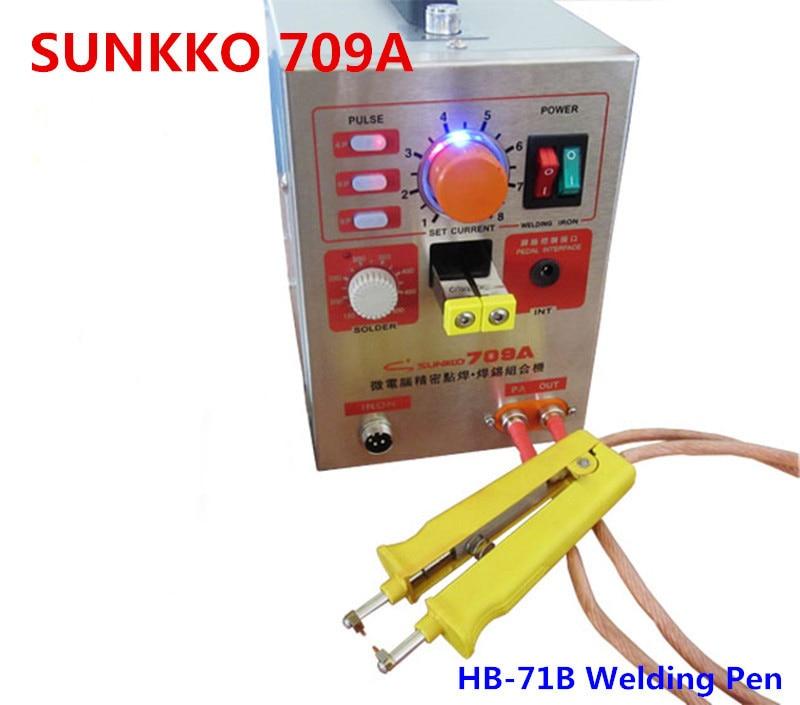 SUNKKO 3.2kw LED Pulse Battery Spot Welder ,709a, Spot Welding Machine for 18650 battery pack, Spot welding with HB-71B pen 3 2kw led pulse battery spot welder 709a spot welding machine for 18650 battery pack spot welding 1 set tester 1set s 31