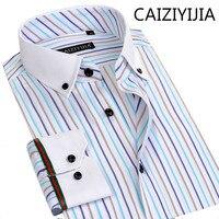 CAIZIYIJIA Autumn&Spring Mens Silm fit Short Sleeve Bamboo Fiber Shirts Fashion Colors Striped Camisa Social Masculina