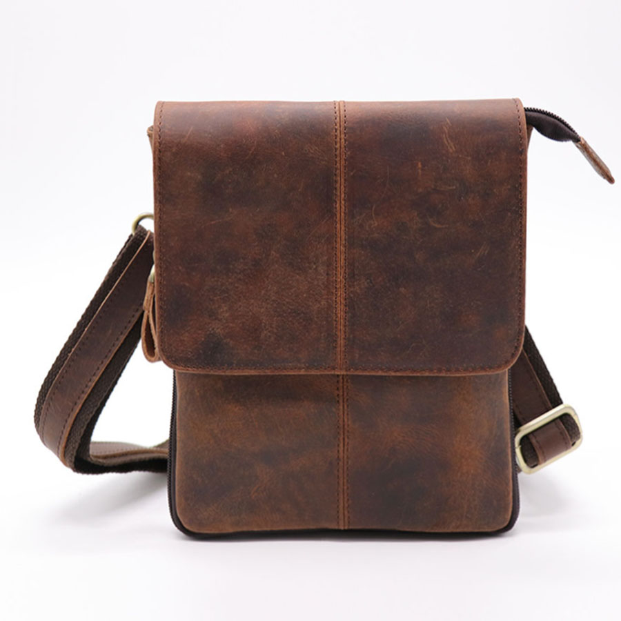 Brand Casual Men's Bag Crazy Horse Genuine Leather Cross Body Shoulder Bags Men Messenger Bag Belt Waist Pack For Travel Vintage