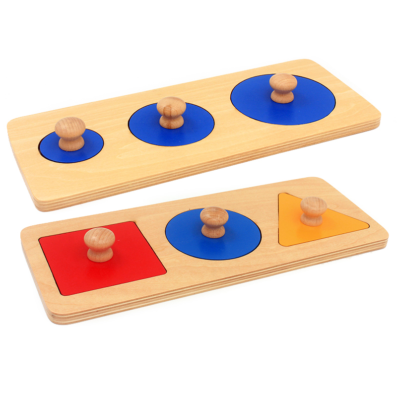 Baby Montessori Sensory Toys Wood Multiple Shapes Multiple Circle Square Triangle Learning Educational Toy For Toddlers 2-4 Year