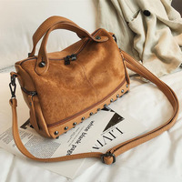 Matte Leather Top Handle Boston Bag with Rivets Original Design Lady Shoulder Bag Winter and Autumn Fashion Boston Tote Bag