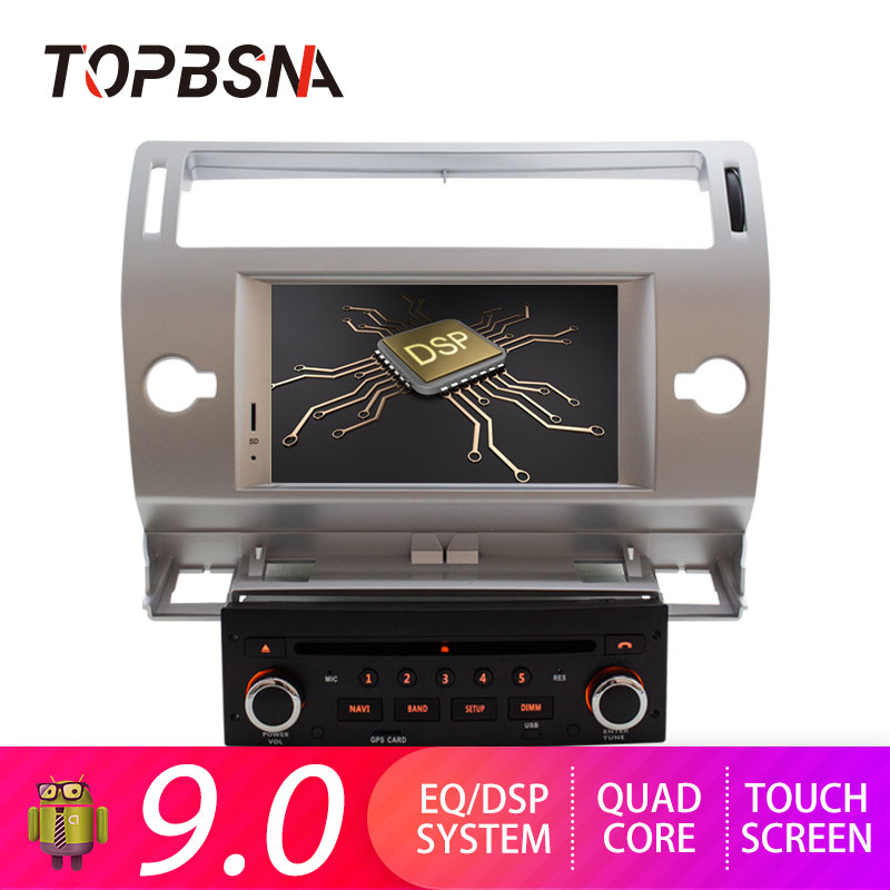 TOPBSNA Android 9.0 Car DVD Player For Citroen C4 C Triomphe C Quatre GPS Navigation 1 Din Car Radio Multimedia Wifi Stereo RDS