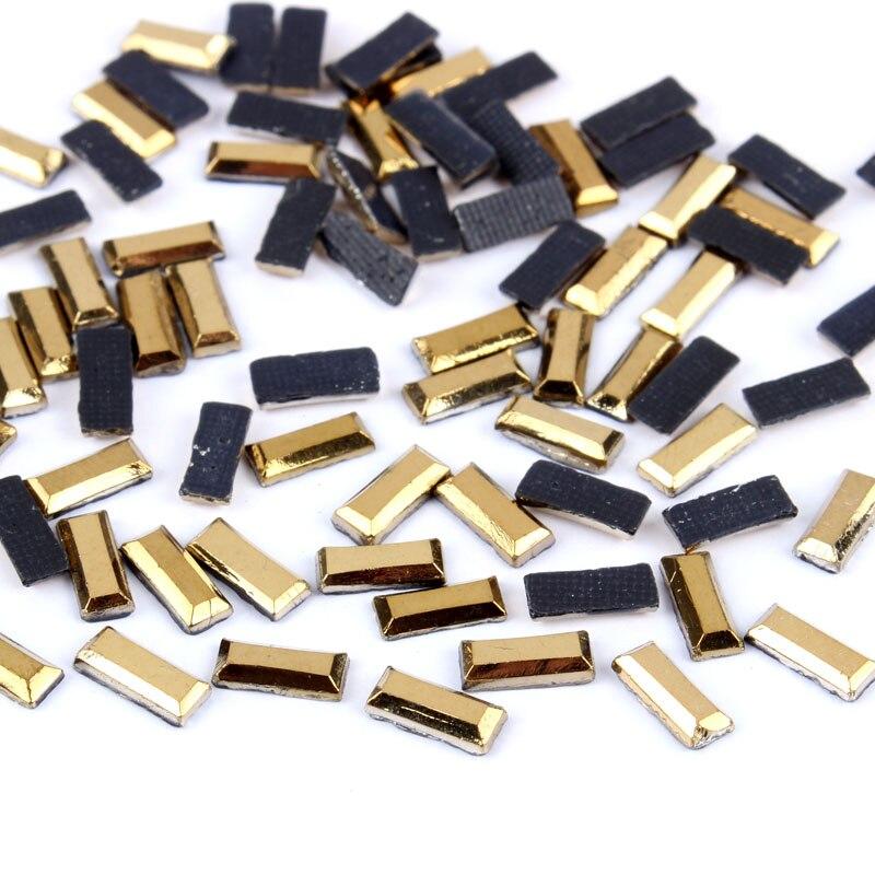 3x7mm 300pcs Mine Gold Hotfix Rhinestone Flatback Strass