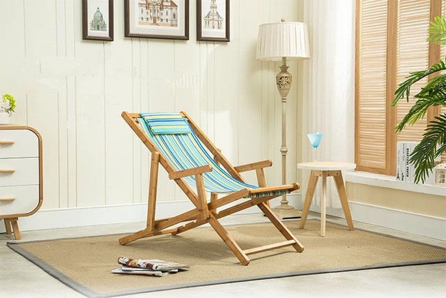 Adjustable Bamboo Beach Sling Chair Cavan Seat Home Indoor/Outdoor  Furniture Beach Folding Chair Modern