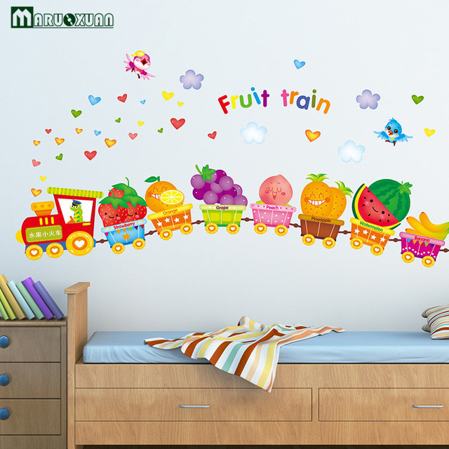 Decoratie Stickers Kinderkamer.Yunxi Gelukkig Fruit Dieren Kleine Trein Stickers Kinderkamer