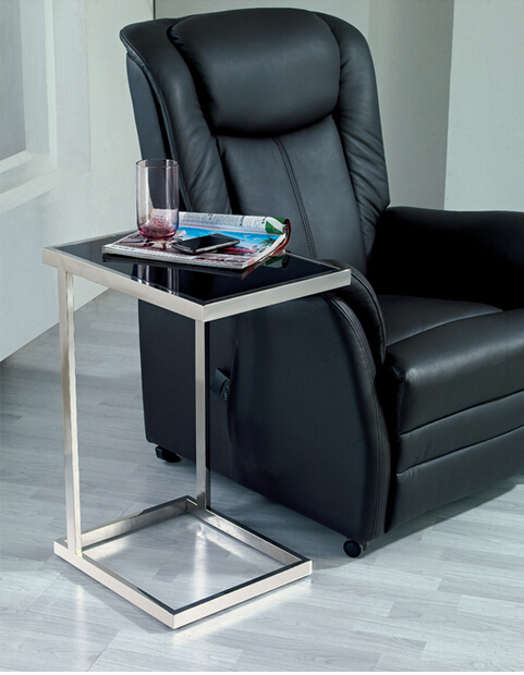 Stainless steel side table. Mobile toughened glass small tea table. The sofa side table