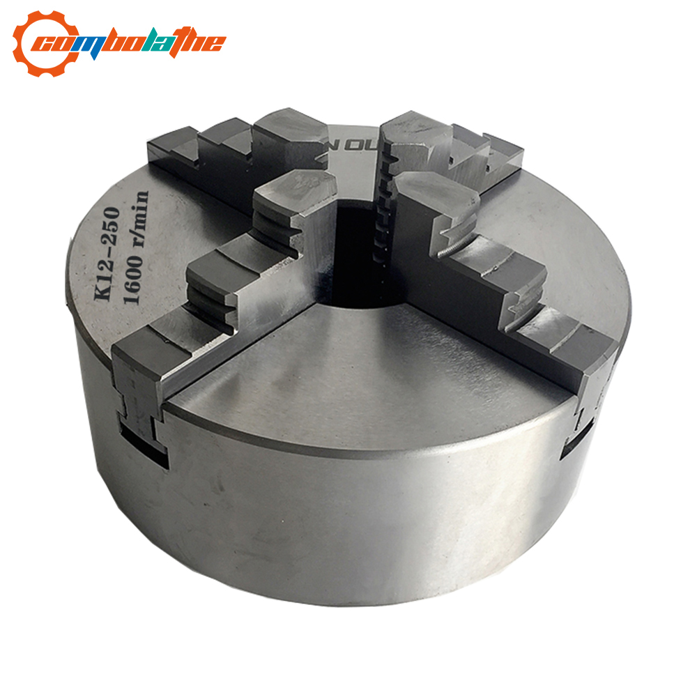 4 jaw lathe chuck 250mm 10'' inch K12 250 with hardened steel for heavy duty lathe Chuck     - title=