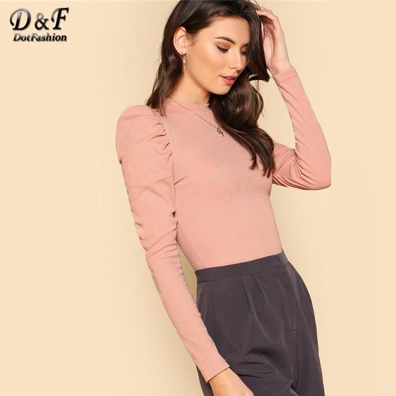 Dotfashion Puff Sleeve Rib Knit Long Sleeve Tee Shirt Women 2019 Tops Autumn New Elegant T-Shirt Plain Clothes Slim Fit TShirt