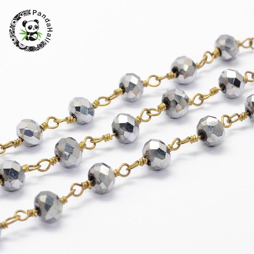 Handmade Beaded Chains, Electroplated Glass Beads with Brass Findings, Faceted Abacus, Gray, 6mm; about 10m/rollHandmade Beaded Chains, Electroplated Glass Beads with Brass Findings, Faceted Abacus, Gray, 6mm; about 10m/roll