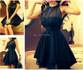 New Arrival Scoop Cocktail Dress Mini Length A Line Party Dress 2016 Sleeveless Prom Dresses Black Pleated Dress Off Shoulder