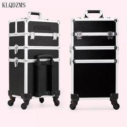 KLQDZMS عالية الجودة المرأة المهنية حافظة للمكياج عربة حقيبة مستحضرات التجميل سعة كبيرة المتداول الأمتعة على عجلات
