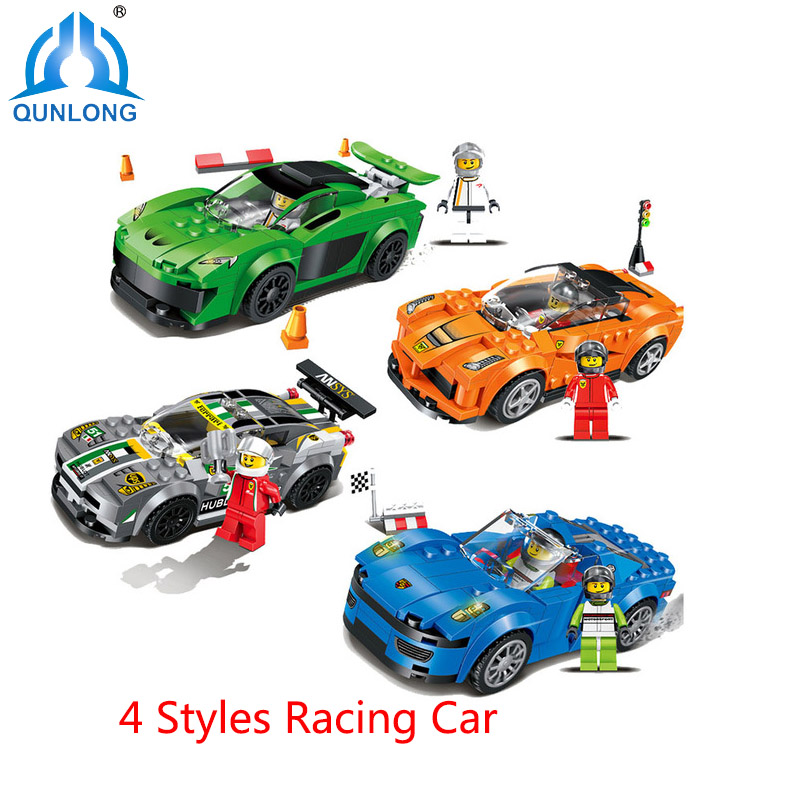 Qunlong Toys Minecraft Figures Building Blocks 4 Styles Racing Car Model Set Compatible Legoe City Enlighten Bricks Toys For Kid new 4pcs set minecraft sword espada models figures my world building blocks model set figures compatible toys for kids