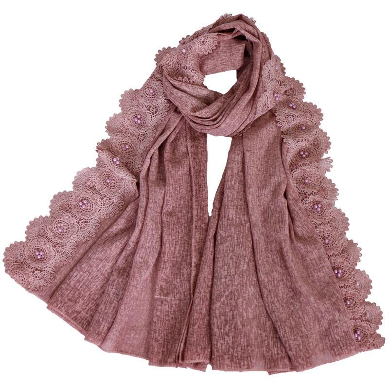 2019 Floral Lace Hijab Scarf Maxi Stretchy Wraps Cotton Bandhnu Shawls Muslim Scarves Headband Wraps Islamic Scarves 10pcs/lot