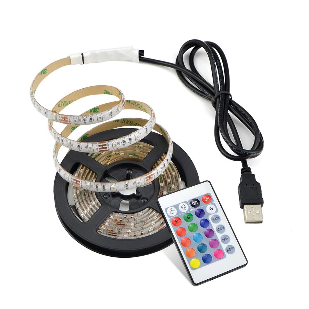 50CM 1M 2M 3M 4M 5M 5V USB Cable Port RGB LED Strip 2835 Flexible Light Tape Ribbon Desktop Decor Screen TV Background Lighting EYOYO