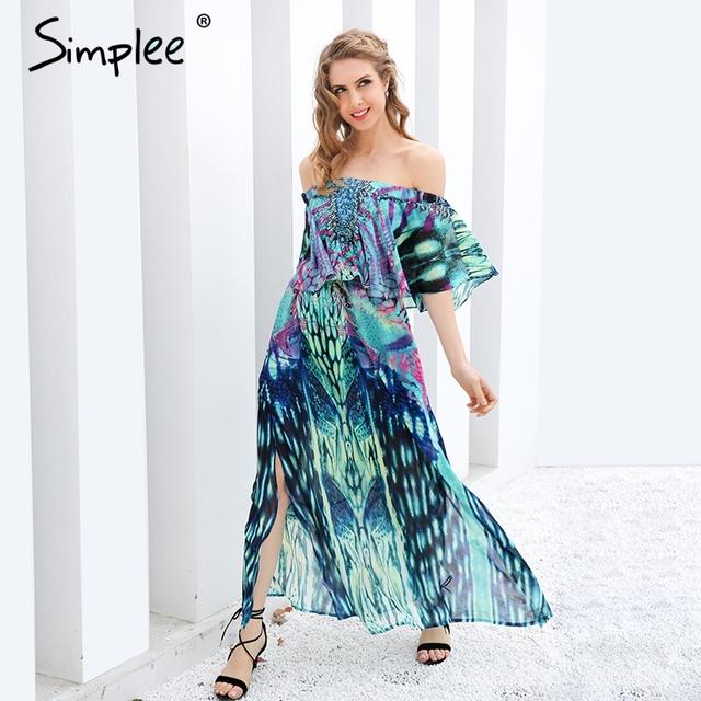 Simplee Sexy off shoulder boho print maxi dress Women vintage chiffon  ruffle long dress Summer 2017 lining beach dress vestidos