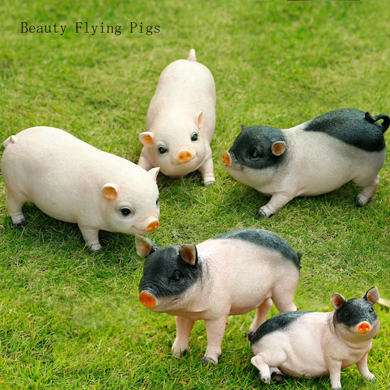 Pastoral style crafts piglet simulation artificial resin animal sculpture 12 Zodiac pig furnishings home garden lawn decoration(China)