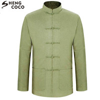 SHENG COCO Men Chinese Shirt Tang Long Sleeve Autumn Chinese Tops Green Beige Plus Size 3XL Clothing