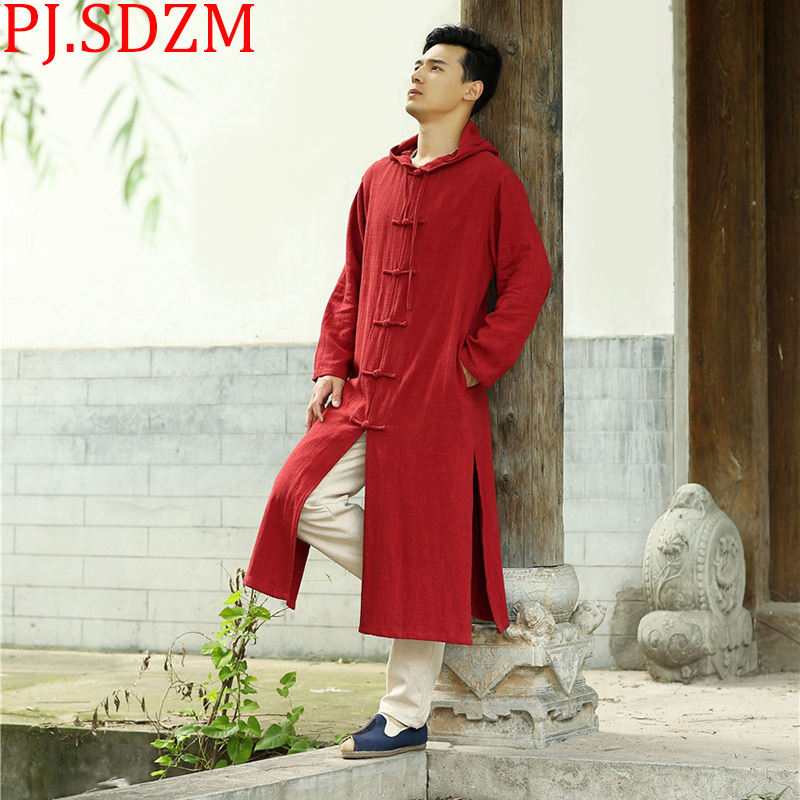 PJ.SDZM 2018 New Autumn Winter Coat Thickened Man and Woman Hooded Trench Coat National Style Long Cardigan Lovers