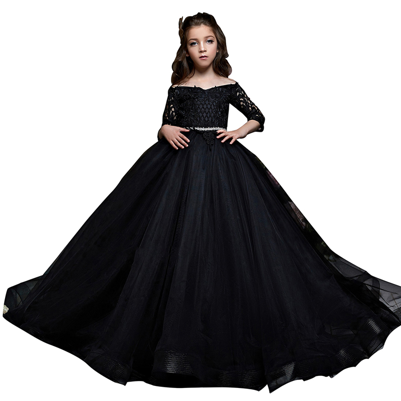 black party dresses for girls half sleeves puffy kids ball gown dress vestido de fiesta nina lace flower girls dresses 2 12 year black party dresses for girls half sleeves puffy kids ball gown dress vestido de fiesta nina lace flower girls dresses 2-12 year