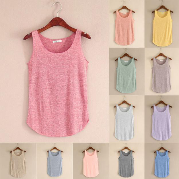 Women Summer Tank-sleeveless Round Neck Loose Singlets Vest  #R title=