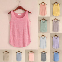 Women Summer Tank-sleeveless Round Neck Loose Singlets Vest #R(China)