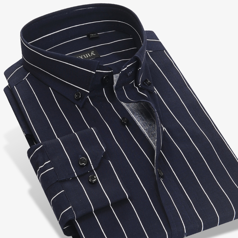 5e7d1aacce 100% Cotton High Quality Men Casual Stripe Shirts Square Collar Button Up  Long Sleeve Business Formal Men Dress Shirt-in Casual Shirts from Men's  Clothing ...