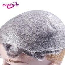 AddBeauty тонкой кожи 0,02-0,03 мм мужские парик 8x10 дюймов, Remy(Реми), индийские человеческие системы замещения волос ручной работы шиньоны