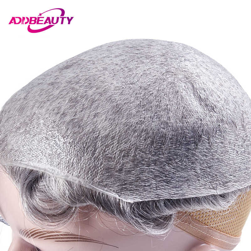 AddBeauty Thin Skin 0.02-0.03mm Mens Toupee Wig 8x10 Inch Remy Indian Human Hair Replacement Systems Pure Handmade Hairpieces
