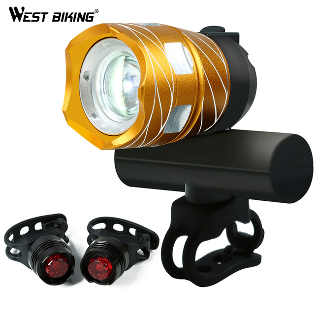WEST BIKING Ultra Bright Bike Light 1200LM Free Zoom Waterproof T6 LED Front Headlight Taillights USB Rechargeable Bicycle Light