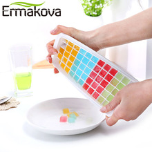 ERMAKOVA Plastic Ice Cube Tray Maker Ice Square Square Ice Cube Mold DIY Fruit Ice Cream Maker Jelly Pudding Mold with Lid