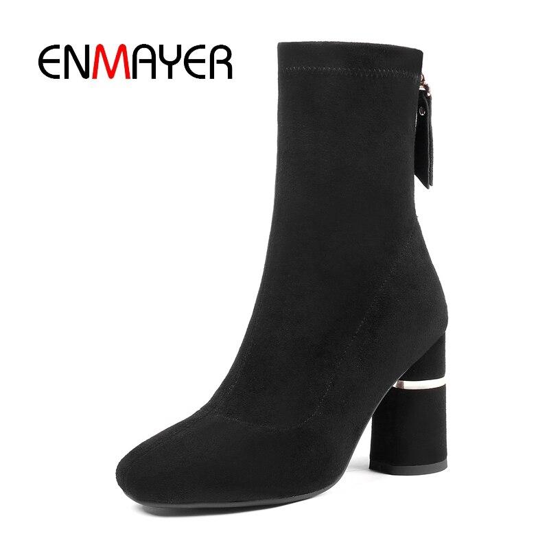 Femmes Pour Talons Bottines Bottes Courtes Des Enmayer Chaussures cal Cr1370 Hauts Causal Hiver 34 Femme Solide Black Épais 39 Bout Pointu Talon Tailles q0FdA44gwx