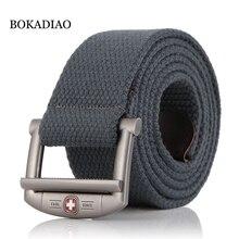 BOKADIAO мужской и женский военный брезентовый ремень Роскошный дизайнерский металлический пояс с пряжкой для джинсов армейские тактические ремни для мужчин ремень мужской
