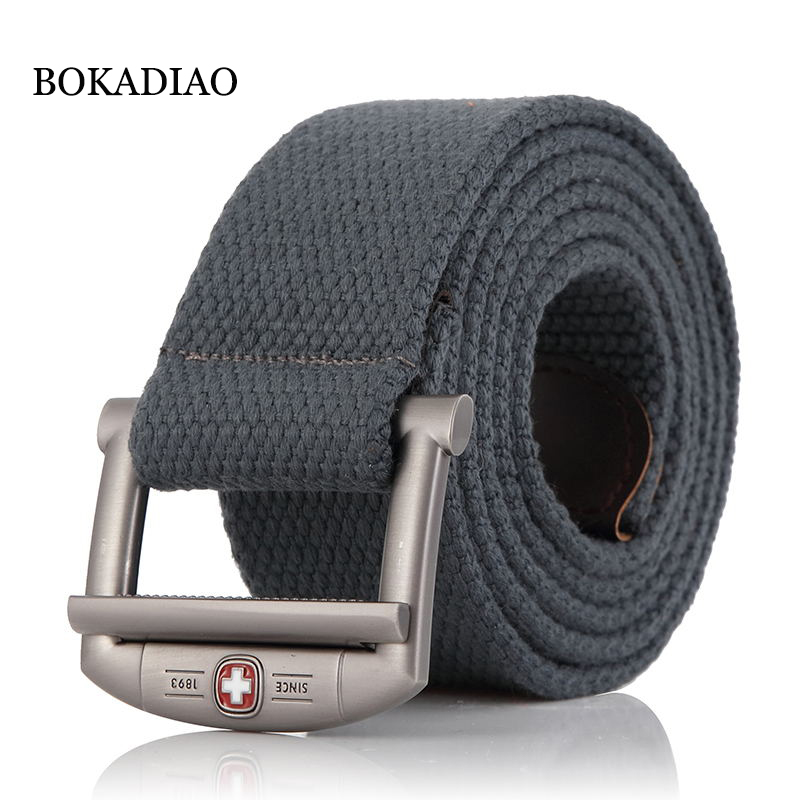 BOKADIAO Men&Women Military Canvas Belt Luxury Designer Metal Buckle Jeans Belt Army Tactical Belts For Men Waistband Strap Male