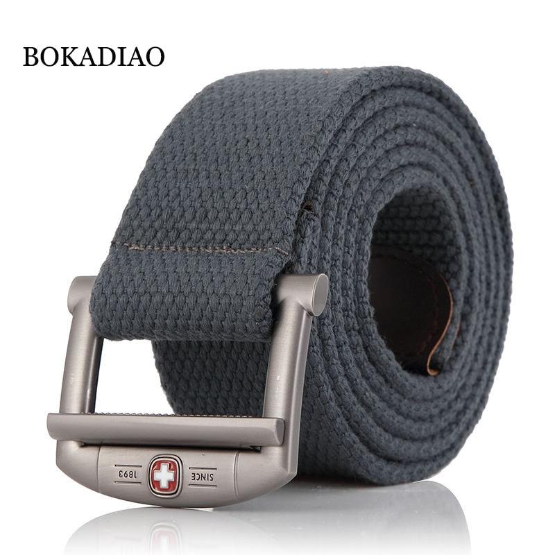 BOKADIAO Men&Women Military Canvas Belt Luxury Designer Metal Buckle Jeans Belt Army Tactical Belts For Men Waistband Strap Male