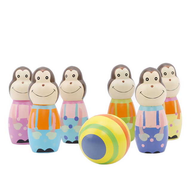 6PCS Monkey Wooden Figures Indoor Mini Toy Bowling Kids Ball Set Fun Development Game Educational Toys For Children Gift