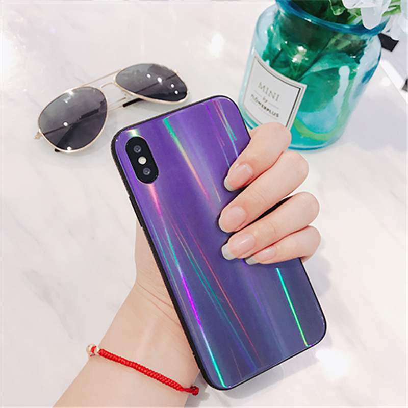 BONVAN For iPhone X 7 8 Plus Tempered Glass Back Case Gradient Color Laser Aurora Silicone Bumper For iPhone 7 6S 8 6 Plus Cover16