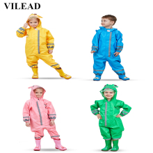 VILEAD Cute Animal Baby Jumpsuits Rain Coat Waterproof Polyester Raincoat Children Windproof Poncho for Kindergarten Student
