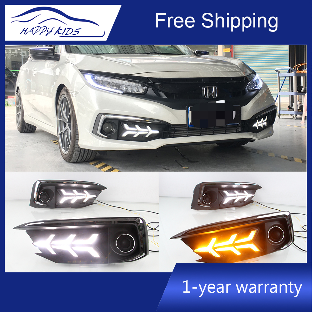 2 PCS LED DRL for Honda Civic 2019 10G sedan led drl with moving signal led