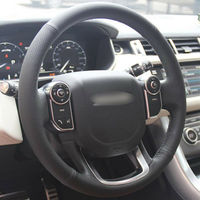 leather hand Top Leather Steering Wheel Hand-stitch on Wrap Cover For Land Rover Range Rover 2014-2015 (3)