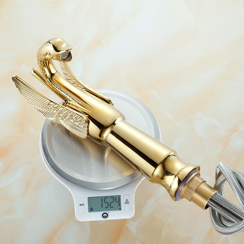 1 шт. SY-8005 дизайн роскошный медный кран горячей и холодной воды смеситель в форме лебедя позолоченный Золотой Умывальник кран высокого