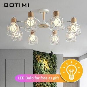 Image 2 - BOTIMI Lustre Wooden Chandelier For Living Room Iron Lampshade LED Chandelier Lighting Lustres Para Sala De Jantar Home Lamp